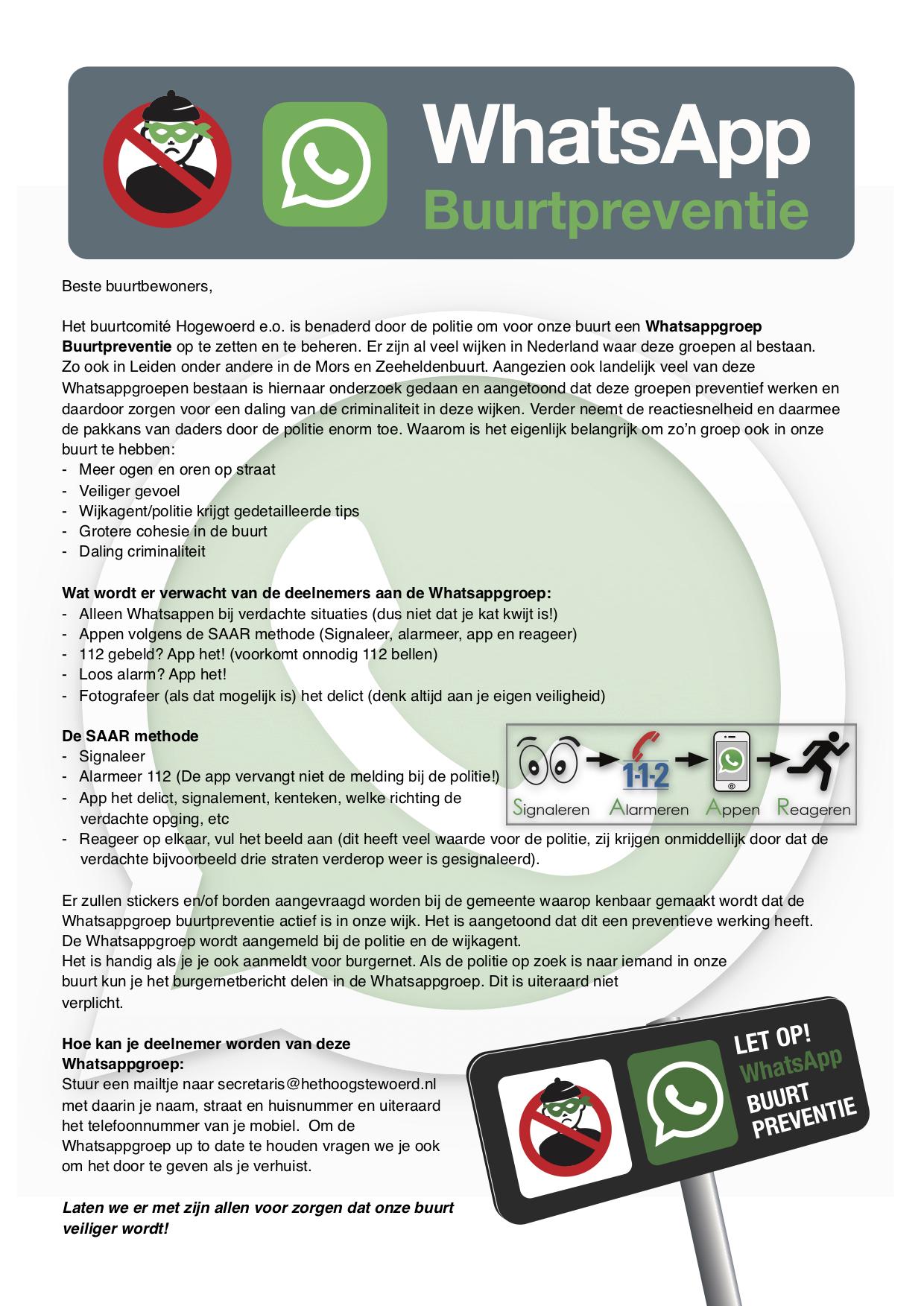 Buurtwhatsapp poster Hoge Woerd
